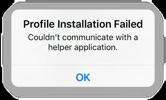 profile installation failed error