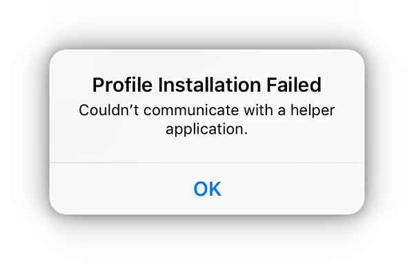 profile installation failed