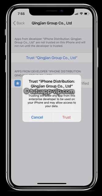 appcake trust error iPhone